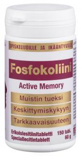 Фосфохолин для студентов, школьников и людей пожилого возраста без глютена, лактозы, дрожжей и подсластителей, Fosfokoliini Active Memory
