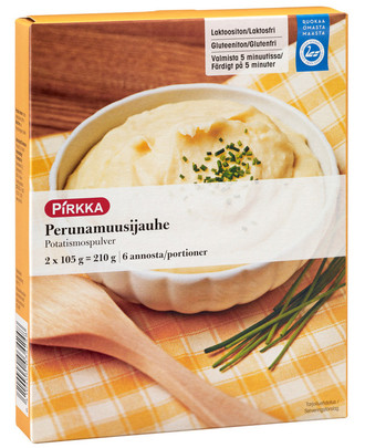 Пюре картофельное сухое без глютена, без лактозы Pirkka perunamuusijauhe 2x105g=210g